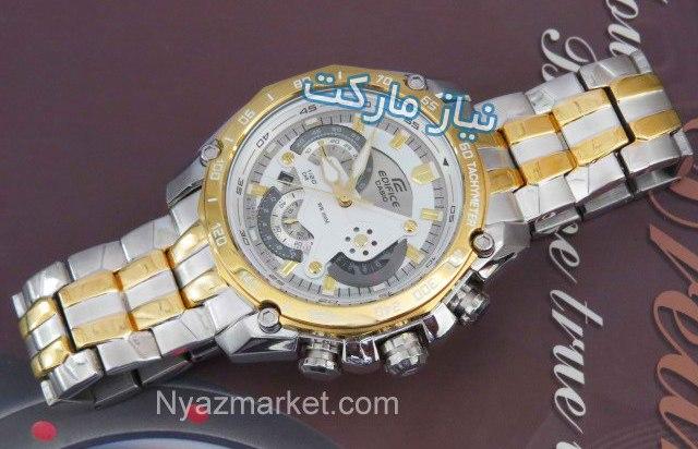 ساعت کاسیو کرنو اصل Casio 550D Silver Gold Chronograph White Dia