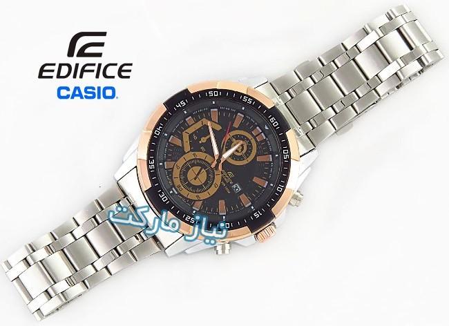 خرید اینترنتی ساعت مچی کاسیو بند استیل مدل ef-539 قهوه ای casio edifice