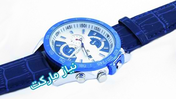 عکس ساعت کاسیو بند چرمی مدل efr-520 صفحه ابی بند سرمه ای