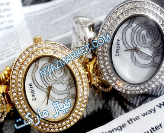 خرید پستی ساعت مچی زنانه Empire بند نگین دار 1948صفحه بیضی شکل صفحه گل