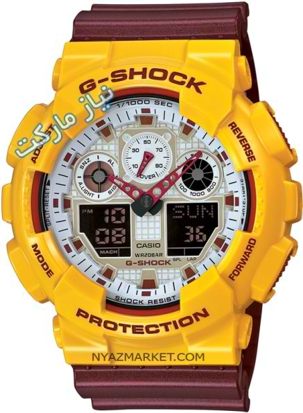 خرید اینترنتی ساعت مچی جی شاک مردانه دو رنگ طلایی با بند زرشکی casio g shock GA-100CS-9AER
