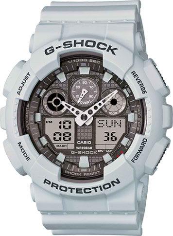 خرید اینترنتی ساعت جی شام 2 زمانه مدل ga-100 سفید