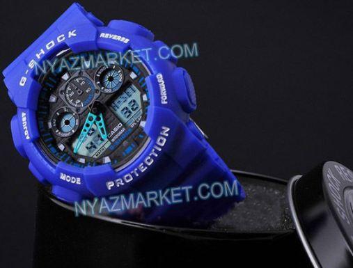 ساعت جی شاک دو زمانه مدل کوهنوردی ابی CASIO G SHOCK GA 100