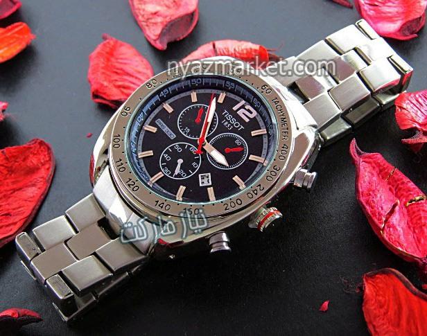 خرید ساعت تیسوت , ساعت مچی مردانه تیسوت, ساعت صفحه مشکی , ساعت tissot 1853 , فروش آنلاین ساعت عقربه قرمز تقویم دار سه موتور