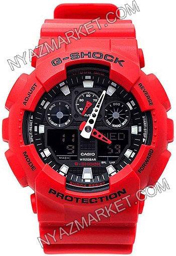 خرید ساعت جی شاک دو زمانه مدل ga-100 قرمز رنگ