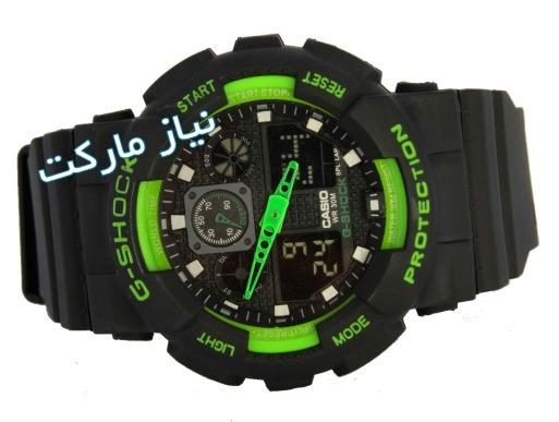 خرید آنلاین ساعت جی شاک کاسیو دو زمانه - ساعت GREEN BLACK WATCHES G-SHOCK GA100 سبز