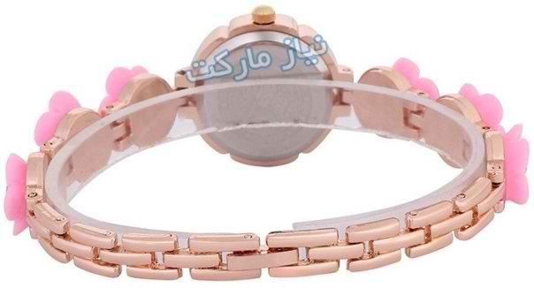 خرید ساعت دخترانه دور مسی بند گلدار رومینا