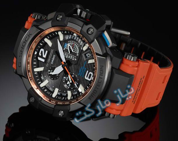 ساعت جی شاک مدل gpw-1000-4adr مشکی رنگ نارنجی