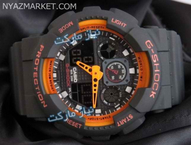 خرید اینترنتی ساعت جی شاک کوهنوردی مدل g-shock casio ga-100 نارنجی اصل و اورجینال