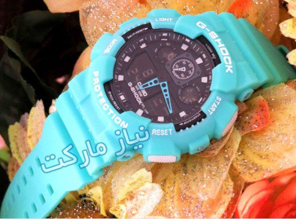 خرید ساعت جی شاک مردانه پسرانه جی ای صد  مدل g shock ga 100 فیروزه ای