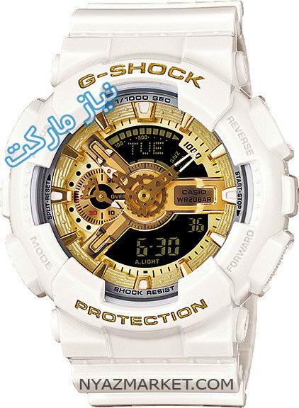 خرید اینترنتی ساعت مچی جی شاک casio g shock ga 110 سفید مشکی