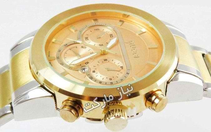 خرید اینترنتی ساعت گوچی مردانه دو رنگ کورنوگراف دار سه موتوره اصل و اورجینال gucci