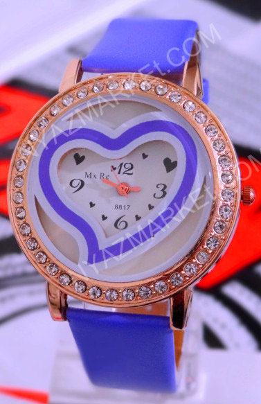 ساعت نگین دار صفحه گرد قلب بزرگ