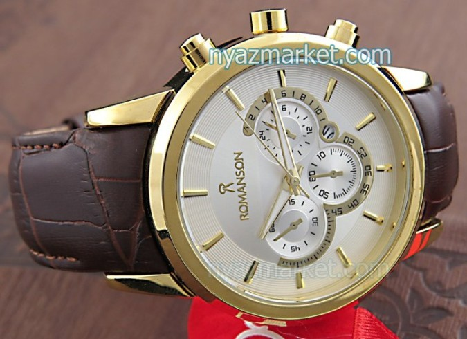 ساعت مردانه,خرید ساعت رومانسون,ساعت بند چرم,ساعت مچی کوکو.ساعت مارکدار,ساعت romanson coco , ساعت,خرید آنلاین ساعت طلایی