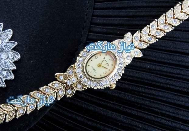 خرید ساعت مچی royal crown رویال کرون طرح پروانه طلایی نگین دار طرح اصل و اورجینال
