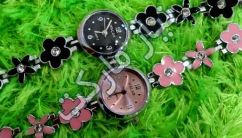 ساعت فانتزی رنگی طرح گل و برگ
